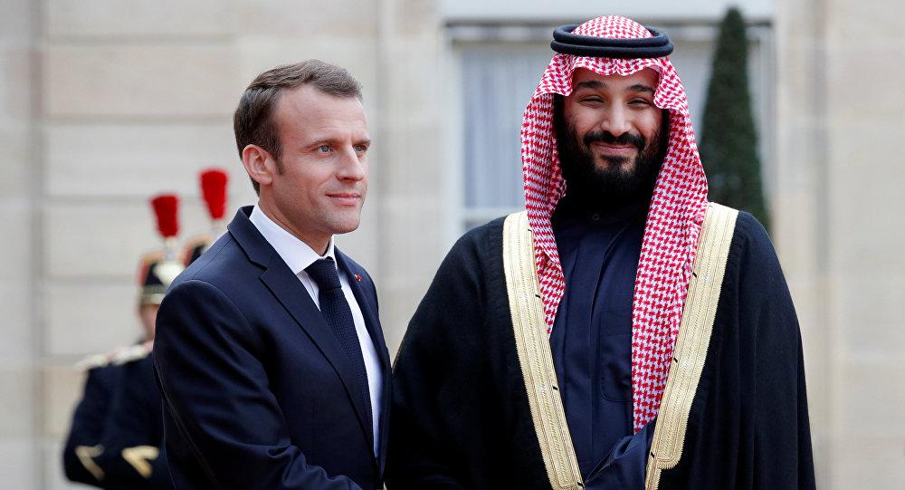Macron with Mohammad Bin Salman