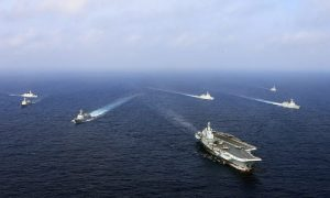 A flotilla of Chinese naval vessels in a live combat drill in an undated photo