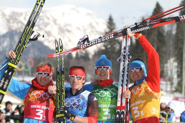 russian silver medalists skiing