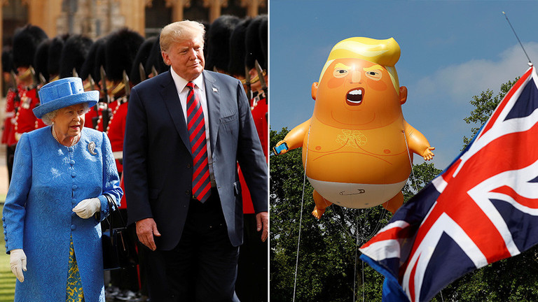 Trump finally gets his state visit to Britain, where even he can look strong & stable