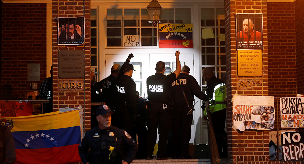US Law Enforcement Officials Raid Venezuelan Embassy in Washington DC