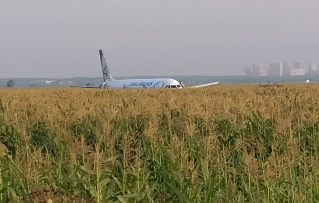 Plane with 234 people on board makes belly landing near Moscow