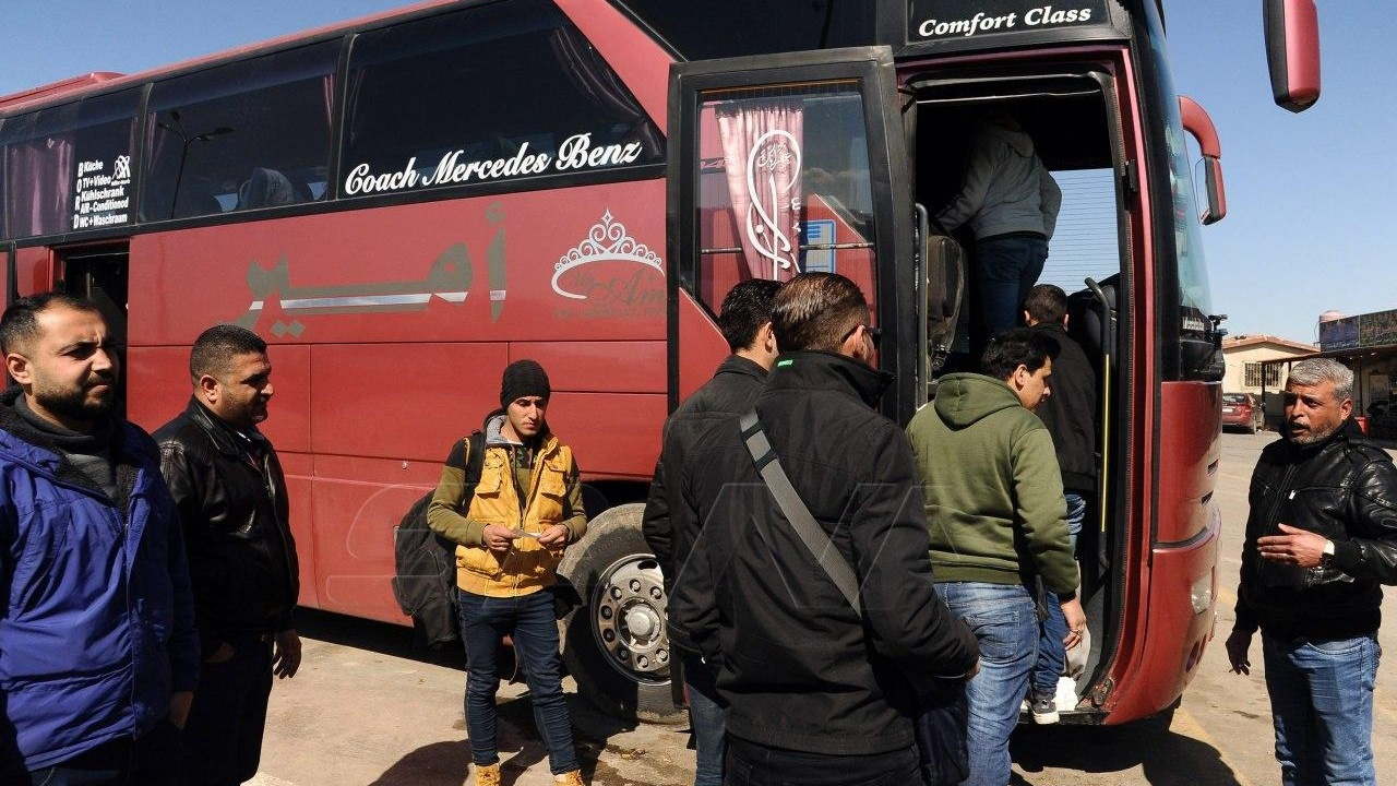 Bus resumed on freed highway in Syria