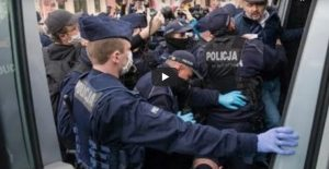 In Poland, the protest ended in clashes with the police