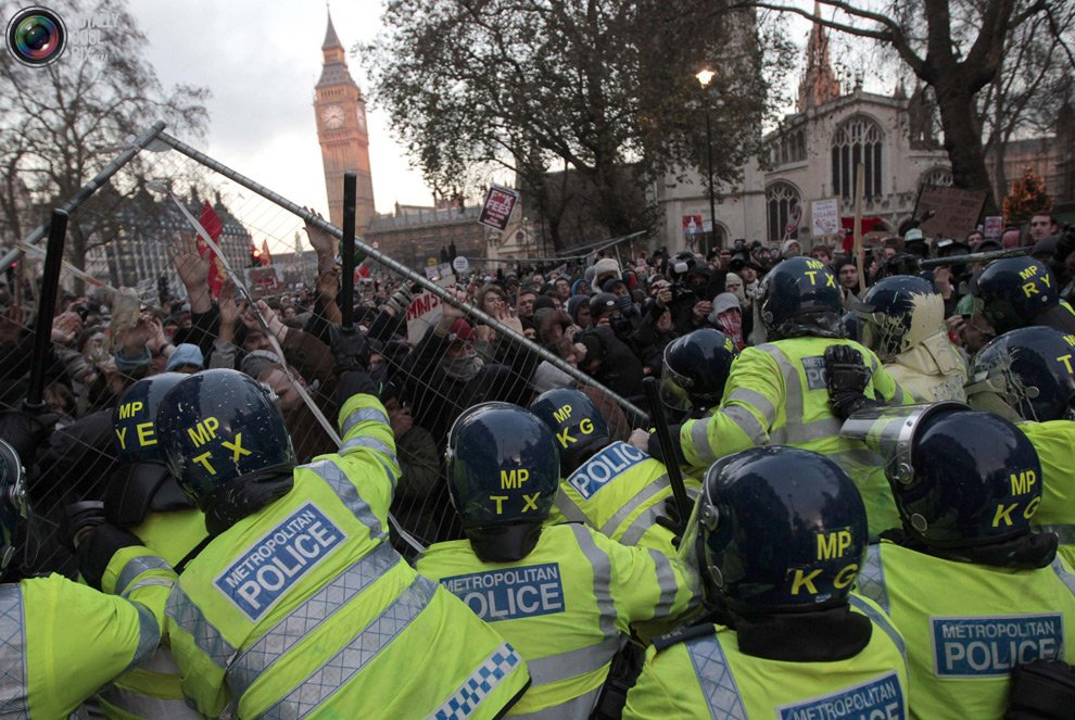 More than 20 police officers were injured in clashes with protesters in London