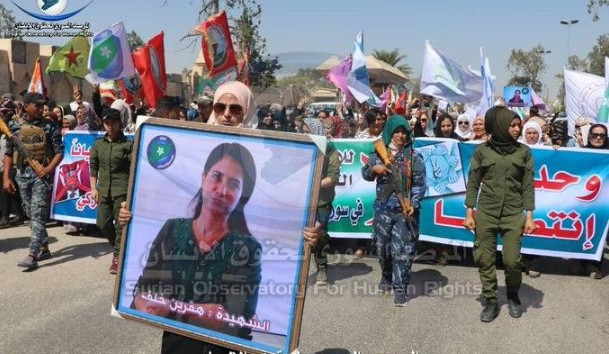 In the Syrian city of Raqqi, a protest