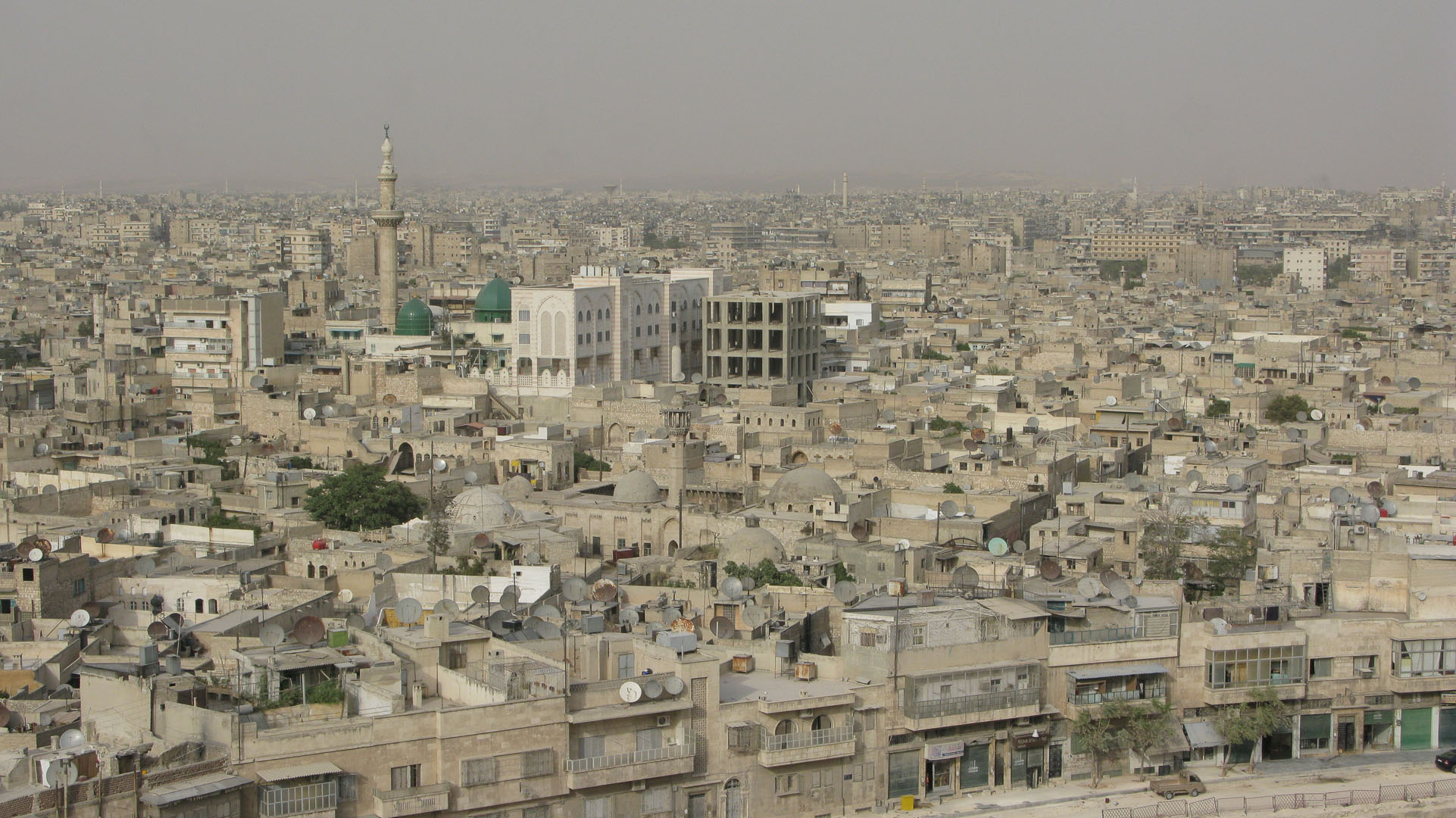 Syrians talked about rebuilding a ruined area in Aleppo