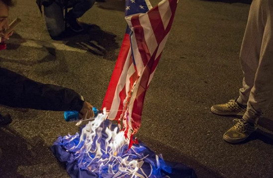 Demonstrators after Trump's speech burned US flag at White House