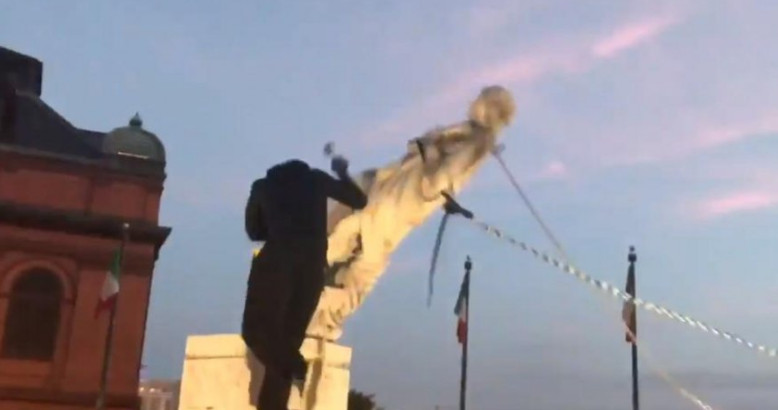 In Baltimore, protesters demolished a monument to Christopher Columbus