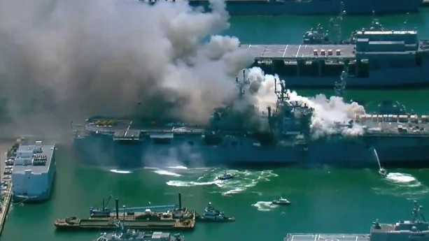 In the United States, after a four-day fire, a landing ship was extinguished