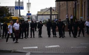 Armored vehicles pulled to the center of the Belarusian capital