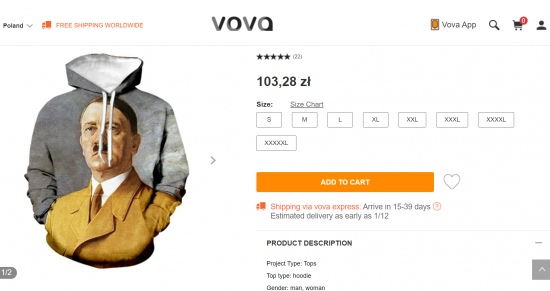 Hitler hoodies on sale in Poland