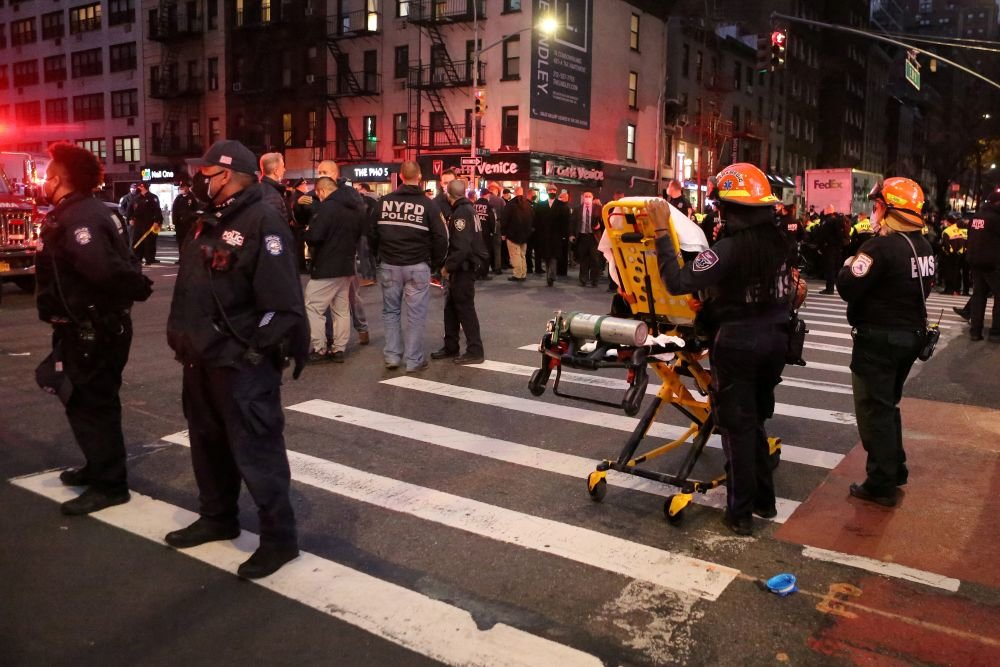 A car crashed into a crowd of protesters in New York City