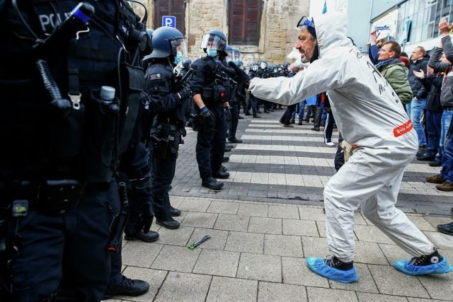 Two police officers injured during protest in Poland