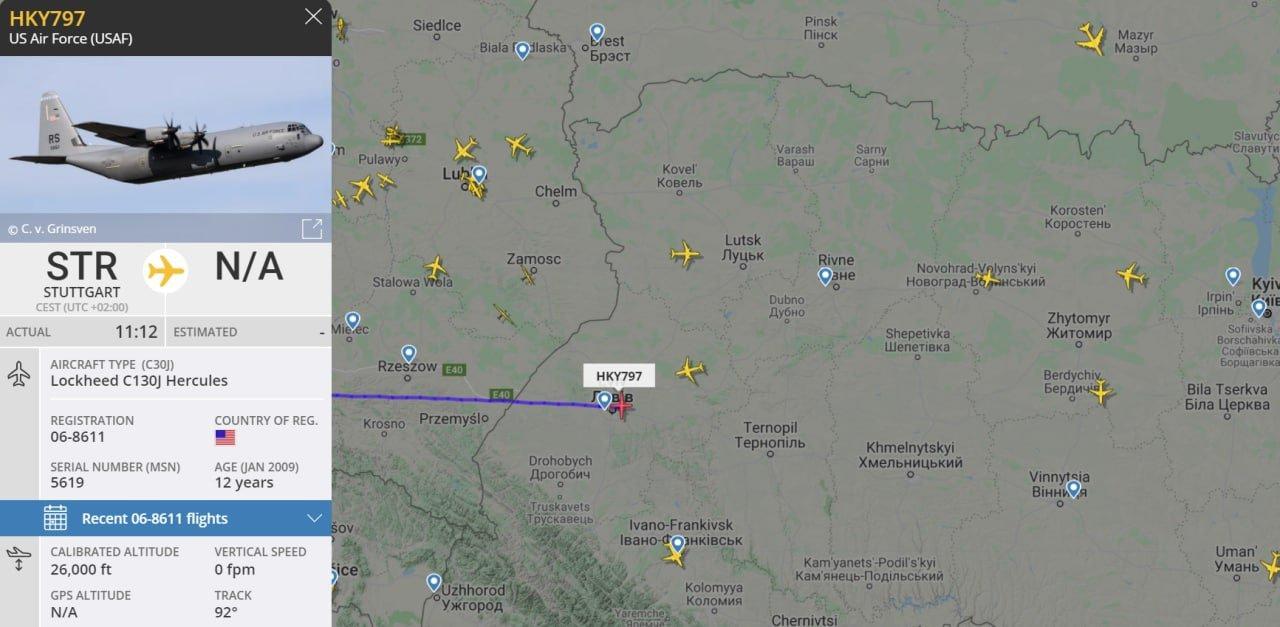 US military plane flies to Ukraine
