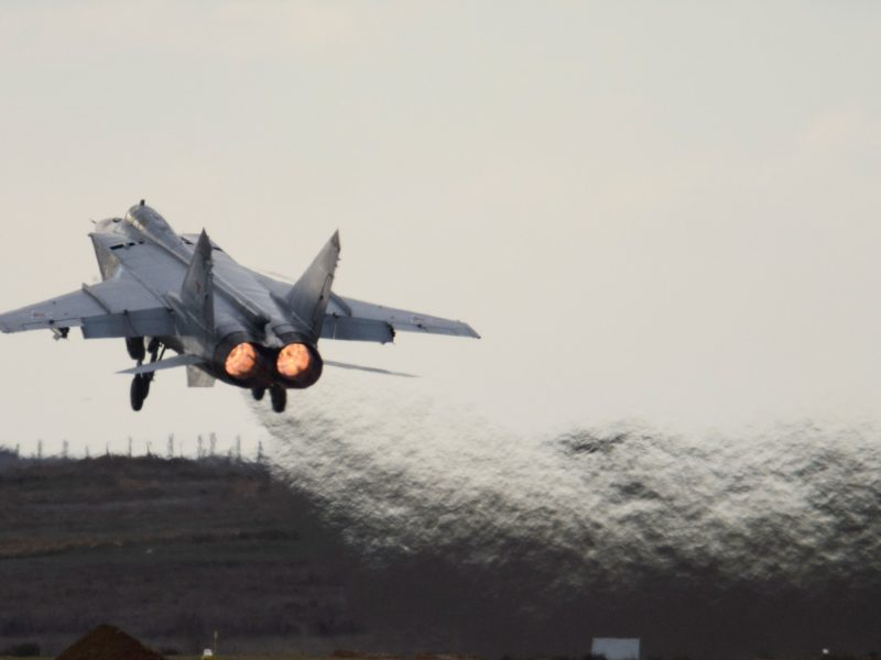 MiG-31 Fighter raised to intercept U.S. reconnaissance aircraft over Pacific Ocean
