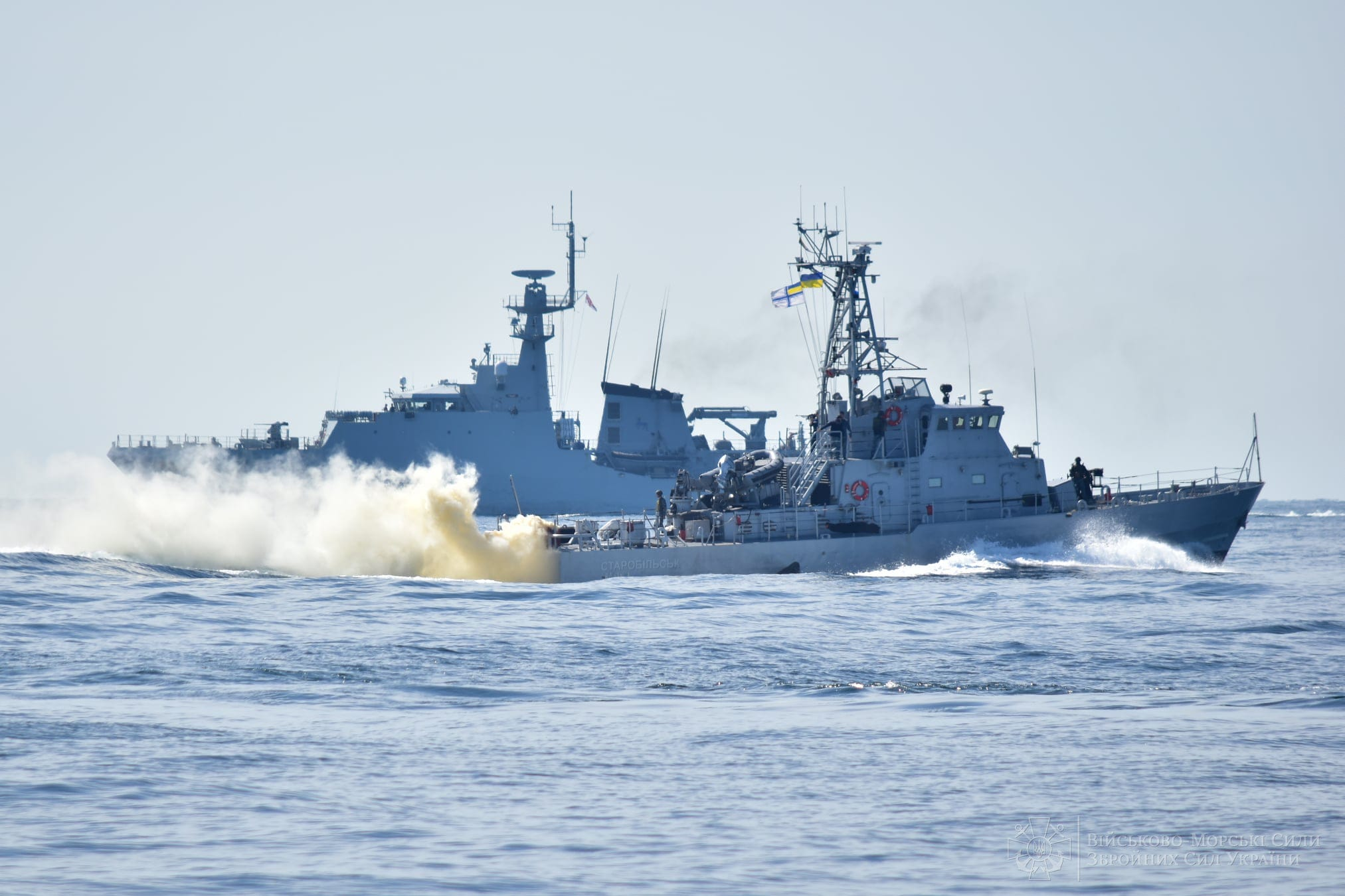Naval forces of Ukrain conduct exercises in Black Sea together with Britain