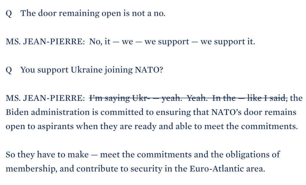 White House edits transcript mentioning Ukraine and NATO