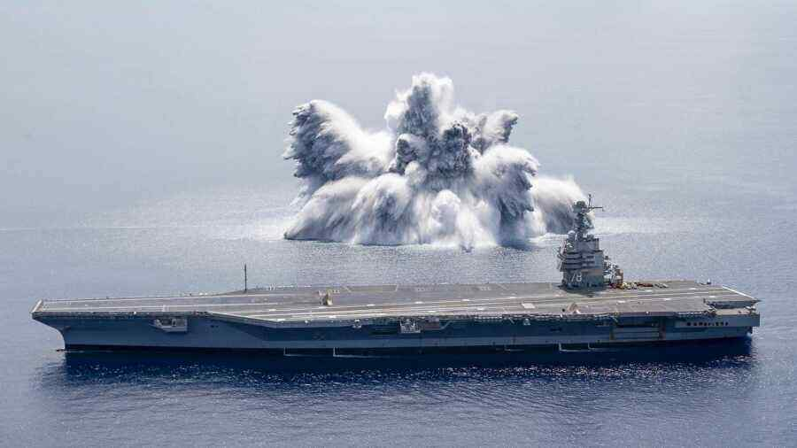 The US has conducted a strike test of the aircraft carrier Gerald Ford