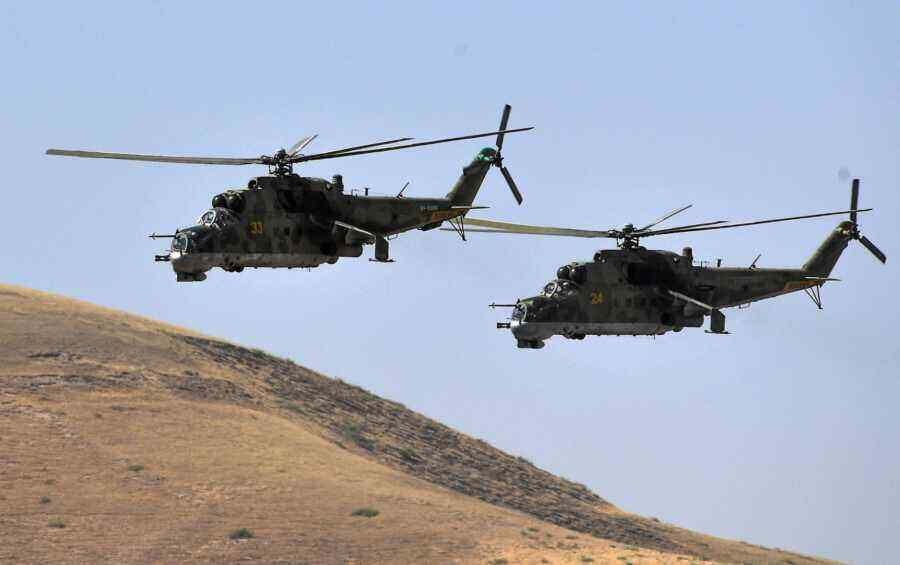 Russian Mi-8 and Mi-24 helicopters deployed to Tajikistan for exercises on the border with Afghanistan