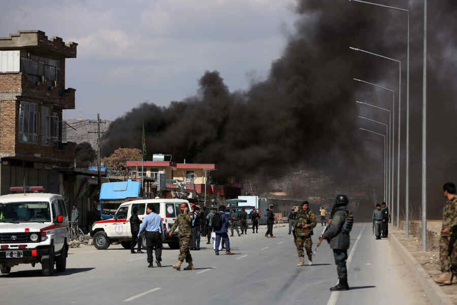 Explosions thundered in two districts of Kabul